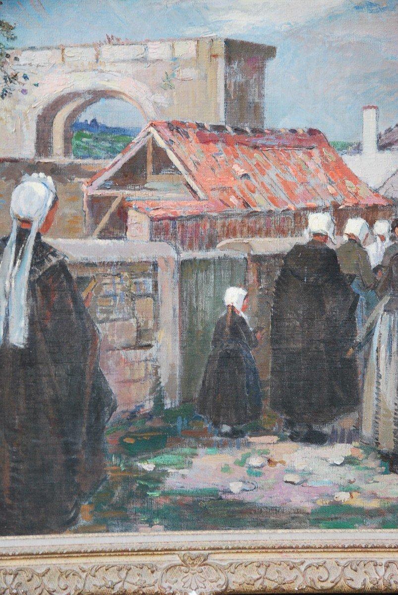 L Ile De Ré, Procession To Saint Martin, Oil Signed By Suzanne Minier-photo-4