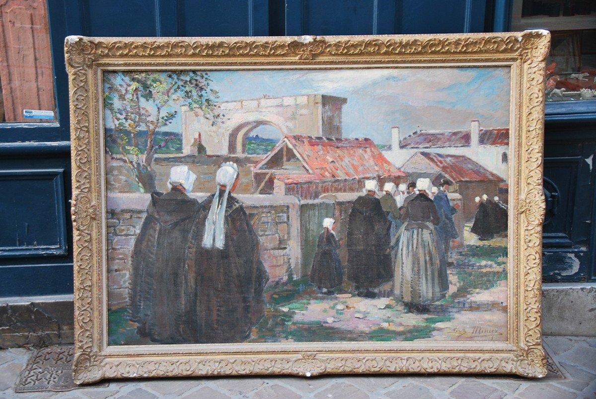 L Ile De Ré, Procession To Saint Martin, Oil Signed By Suzanne Minier-photo-3
