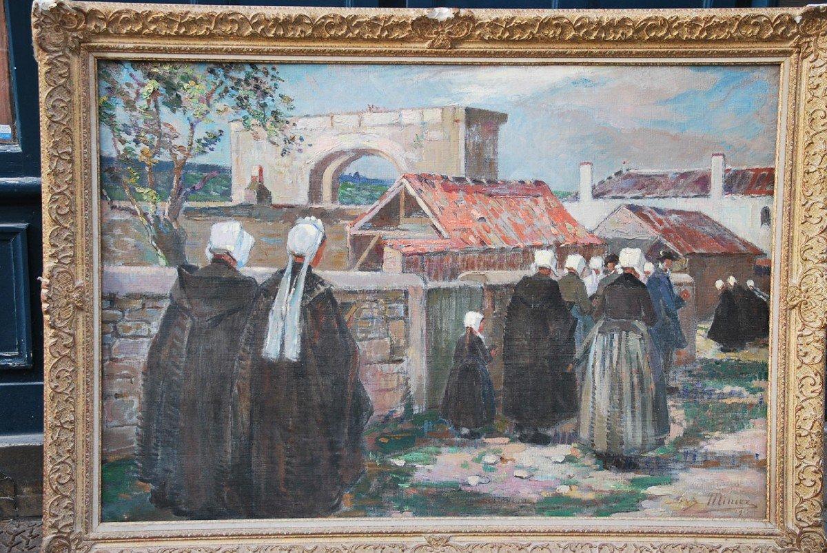L Ile De Ré, Procession To Saint Martin, Oil Signed By Suzanne Minier