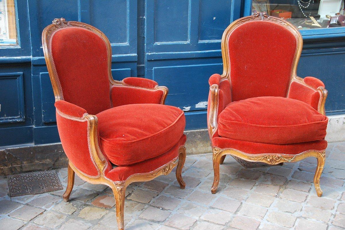 Paire De Bergères En Cabriolet D époque Louis XV -photo-5