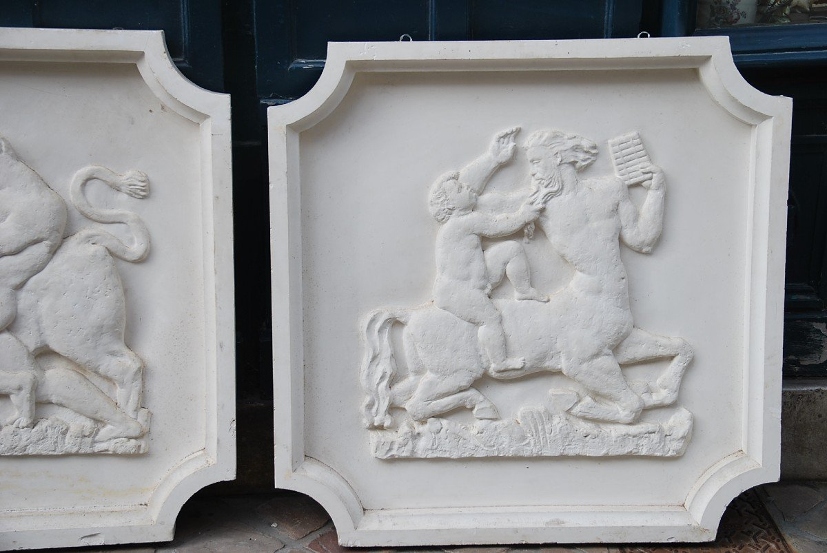 Pair Of Large Bas Reliefs In Plaster In Antique, Circa 1930-40-photo-3