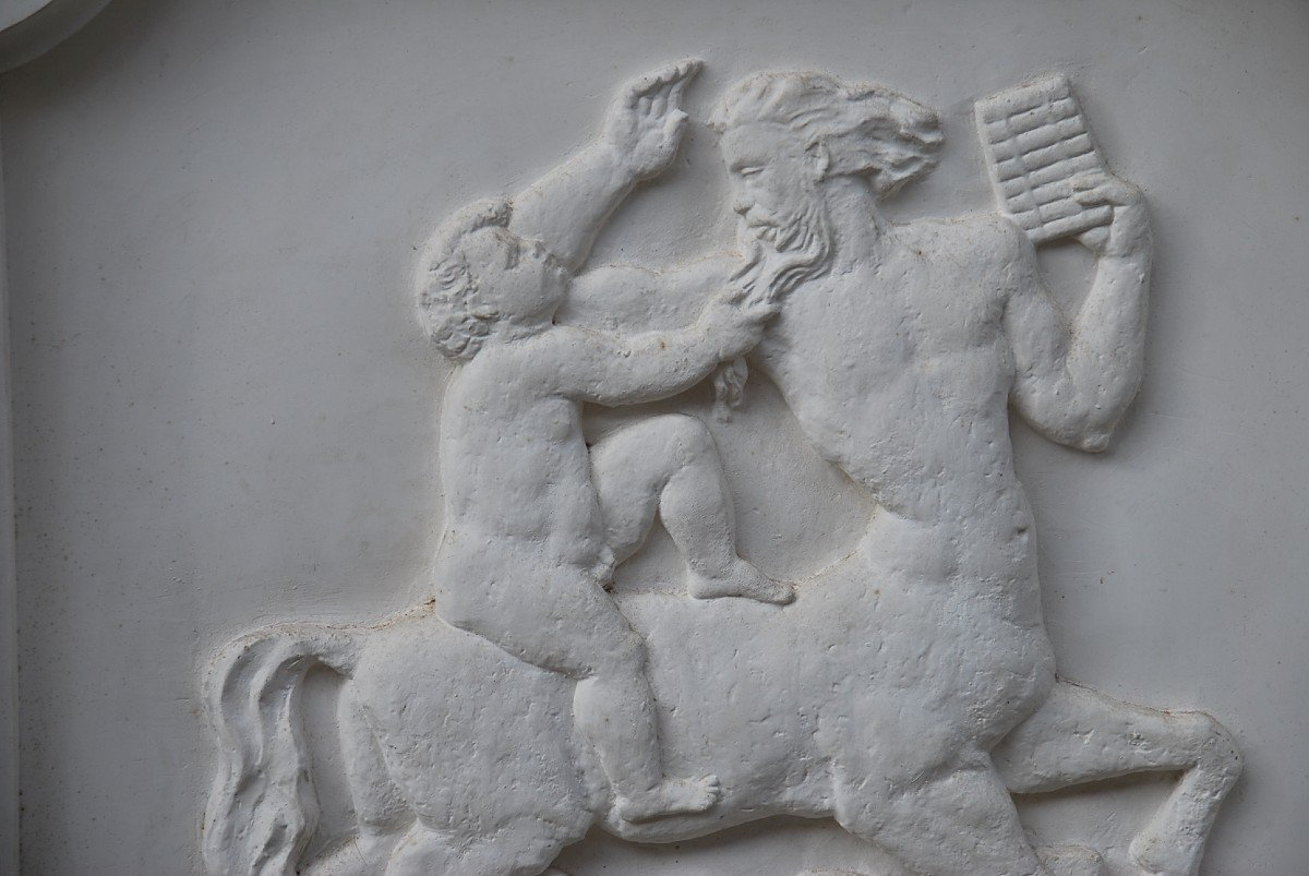 Pair Of Large Bas Reliefs In Plaster In Antique, Circa 1930-40-photo-4