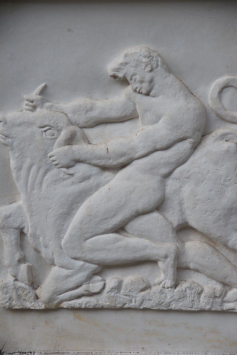 Pair Of Large Bas Reliefs In Plaster In Antique, Circa 1930-40-photo-8