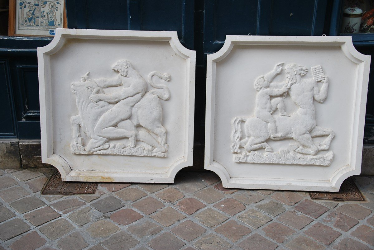 Pair Of Large Bas Reliefs In Plaster In Antique, Circa 1930-40