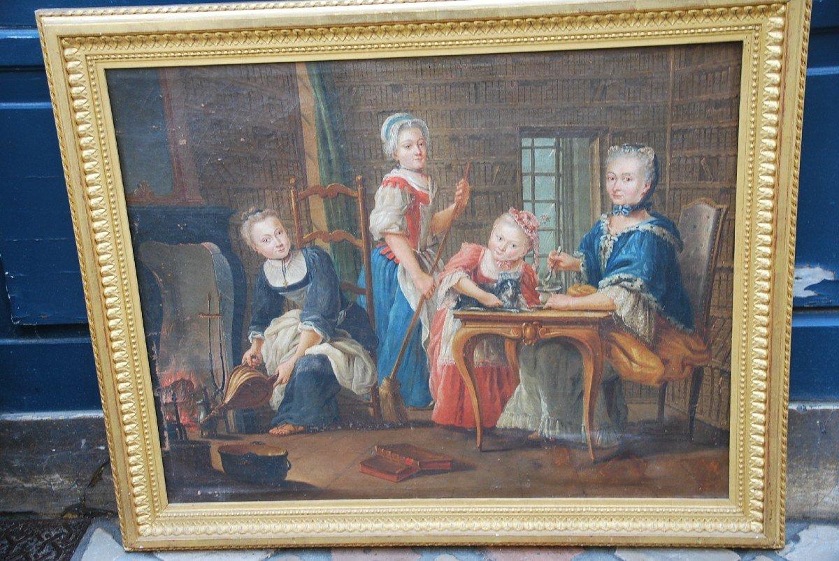Ecole Française Du XVIII/  Portrait De Famille : La Marquise De  Goddes De Varennes-photo-2