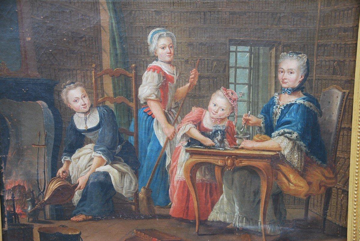 Ecole Française Du XVIII/  Portrait De Famille : La Marquise De  Goddes De Varennes-photo-3