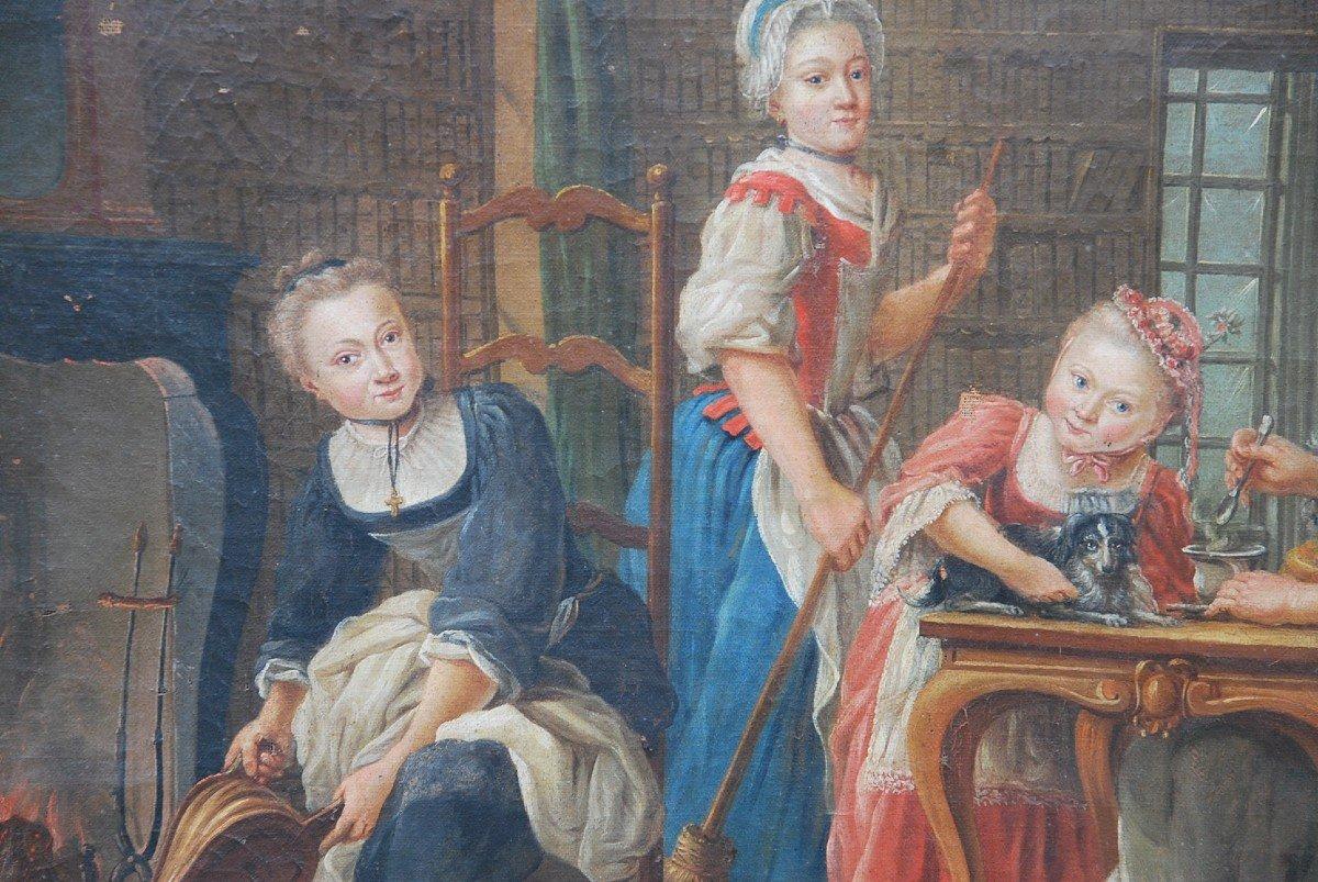 Ecole Française Du XVIII/  Portrait De Famille : La Marquise De  Goddes De Varennes-photo-1