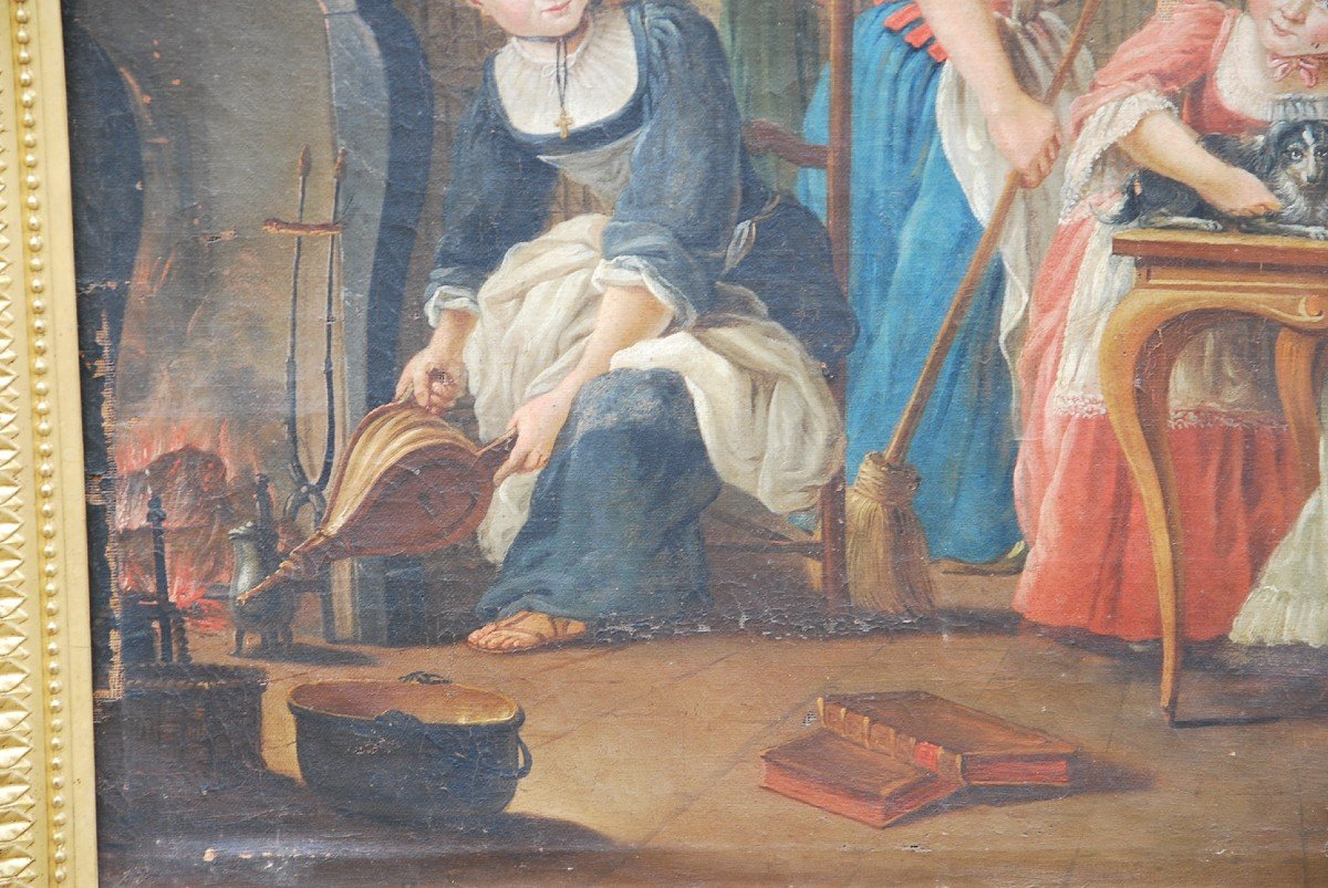 Ecole Française Du XVIII/  Portrait De Famille : La Marquise De  Goddes De Varennes-photo-4
