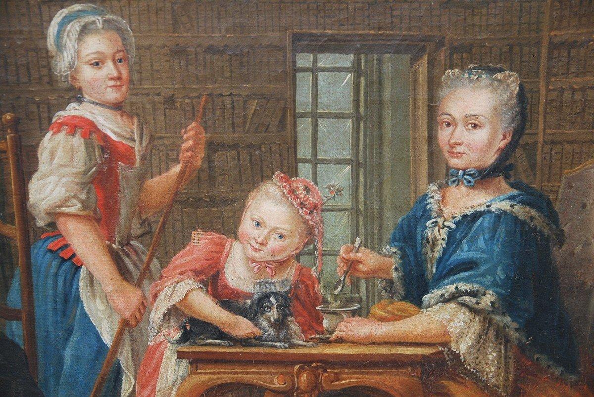 Ecole Française Du XVIII/  Portrait De Famille : La Marquise De  Goddes De Varennes-photo-5