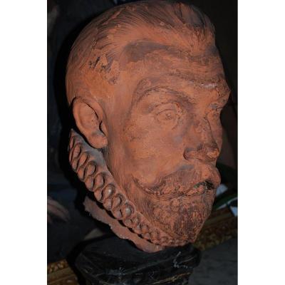 Buste En Terre Cuite XVII, Problablemen L Amiral De Coligny