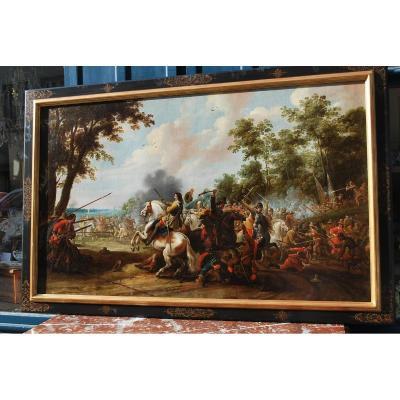 Choc De Cavalerie Signé De Pieter Meulener , Huile XVII