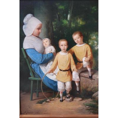 Portrait D Une Nourrice Et De Trois Enfants XIX