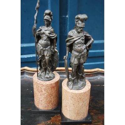 Paire De Statues En Bronze Représentant Mars Et Vénus , Italie XVIII