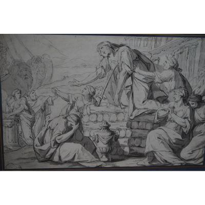 Pen Drawing: The Death Of Didon, Early Work XVIII