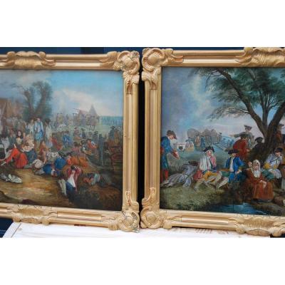 Paire De Panneaux Scènes De Campements , XVIII .ecole Du Nord