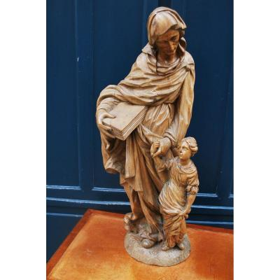 Natural Wood Sculpture Saint Anne And The Virgin, XVII