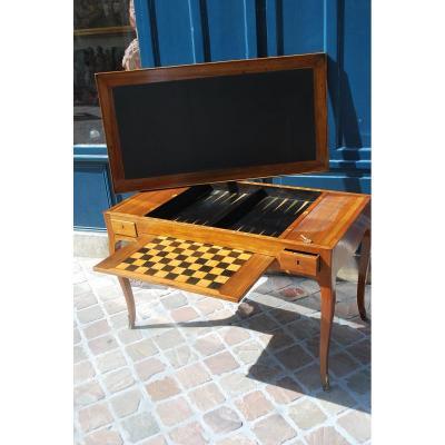 Table à Jeux Tric Trac En Noyer époque Louis XV .estampille De Ancelet
