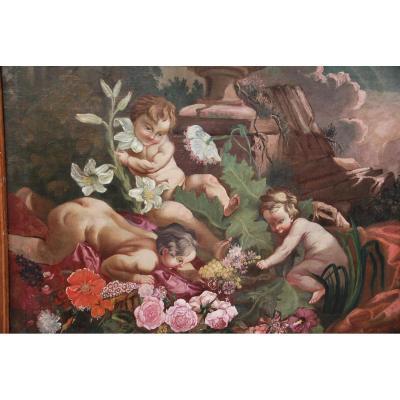 Huile sur toile : jeux de putti , XVIII