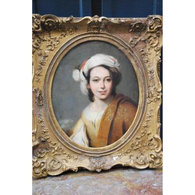Portrait D Une Jeune Femme Au Turban  XIX d après Murillo