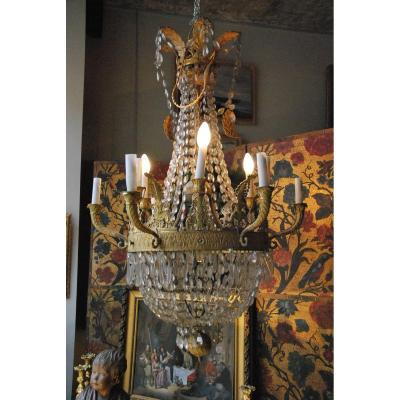 Luste en Bronze et cristal  à  12 Lumières D époque Restauration
