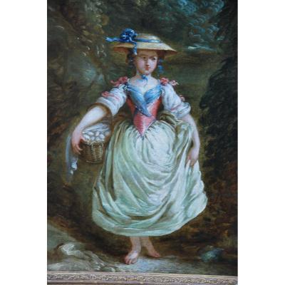 La Marchande D Oeufs Oil On Canvas XVIII, Follower Of Jean Baptiste Huet