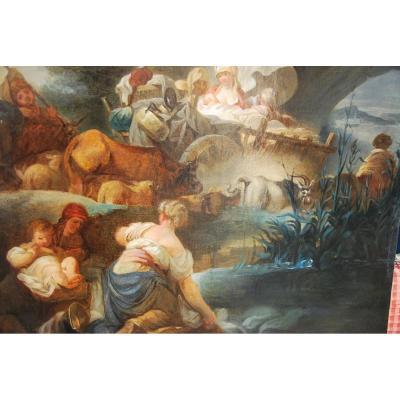 Grande Huile Sur Toile Du XVIII, Suiveur Deboucher