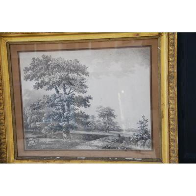 Large Drawing Landscape And Trees Signed By Wartel. Empire XIX Period