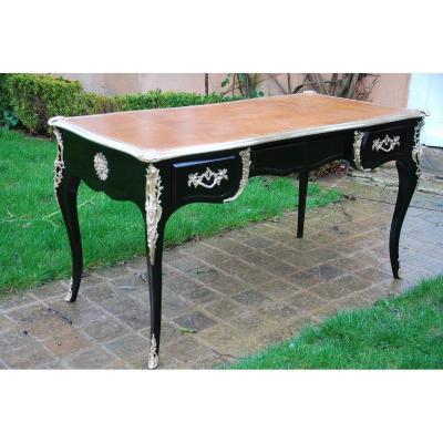 Black Lacquered Flat Desk, Louis XV Style .maison Jansen