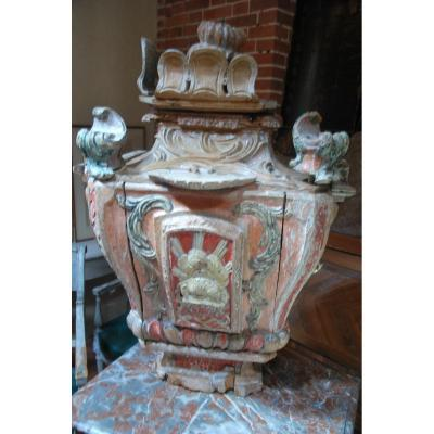 Important Tabernacle In Carved And Painted Wood From Louis XIV Period Of The XVII
