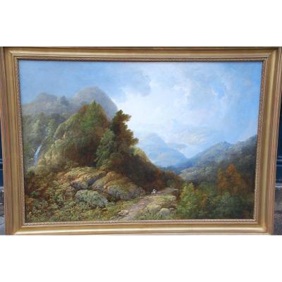 Important Paysage De Montagne Par François Diday