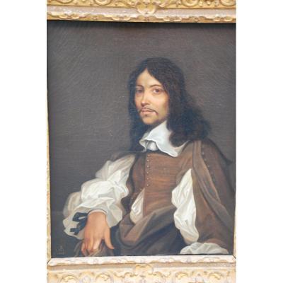Portrait D Homme D Après Sebastien Bourdon. XVII