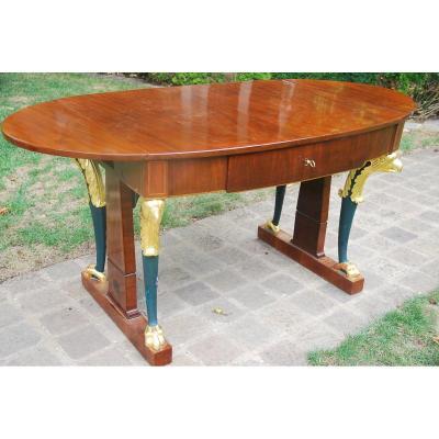 Table Bureau En Acajou Italie XIX
