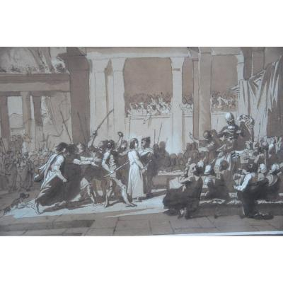 Le Christ Au Prétoir , Dessin Plume Et Encre