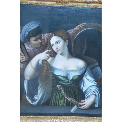 La Femme Au Miroir , Ecole Italienne XVII D Après Le Titien