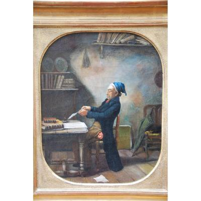 Oil The Notary Clerk, Work Of XIX