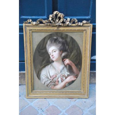 Huile Sur Toile Jeune Femme à Sa Toilette époque Louis XVI ; XVIII