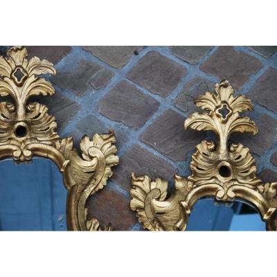 Paire De Miroirs Venitien Du XVIII