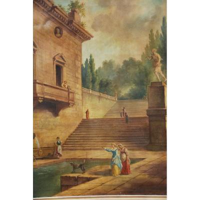 Huile Sur Toile  l escalierde  la villa romaine  d  après Hubert Robert