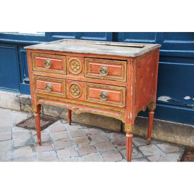 Coral Lacquered Commode Italy D Louis XVI Period
