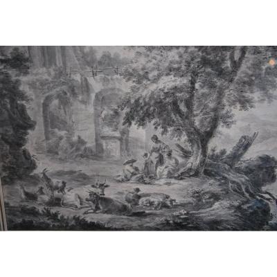 Grand Dessin Scène De Ruines Et Personnages ,fin XVIII