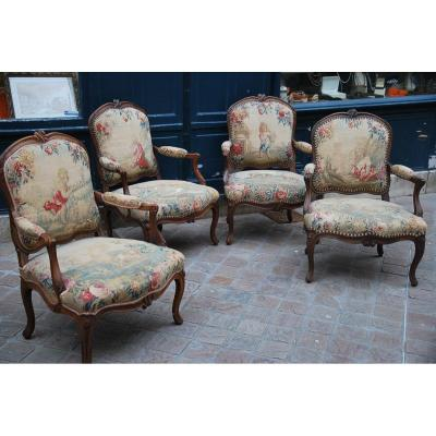 Suite Of 4 Armchairs Flat Back, Tapestries, XVIII