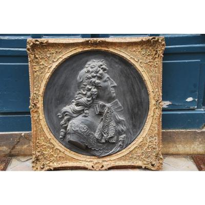 Large Patinated Plaster Medallion, Profile Of Louis XIV