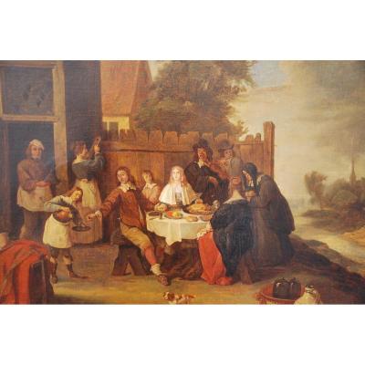 Huile Sur Toile Scène Hollandaise XVII