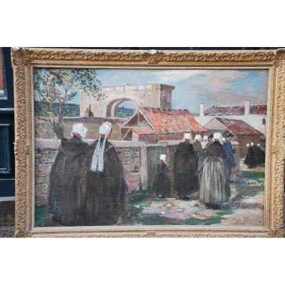 L Ile De Ré , Procession à Saint Martin , Huile Signée De Suzanne Minier