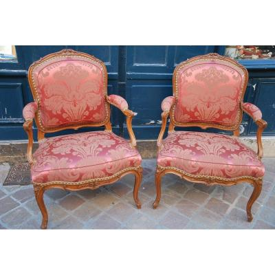 Pair Of Louis XV Period Flat Back Armchairs Stamped By Chevenat