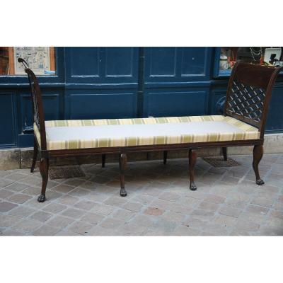 Elegant Vestibule Bench In Mahogany England XIX