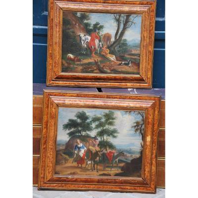 Paire De Paysages Du XVIII D Après Berchem