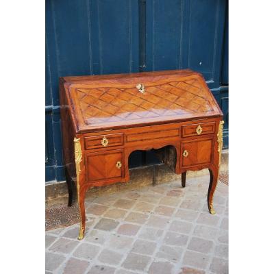 Bureau De Pente à Caissons Attribué à Pierre II Migeon épo Louis XV
