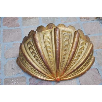 Important Wall Lamp In Golden Wood In The Shape Of A Conch