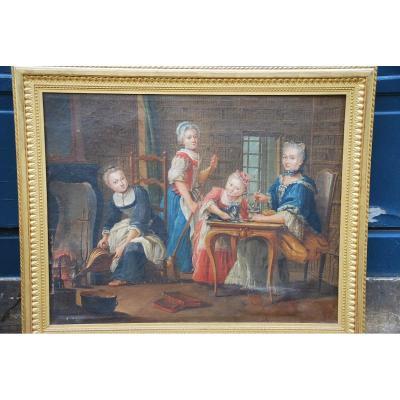 Ecole Française Du XVIII/  Portrait De Famille : La Marquise De  Goddes De Varennes